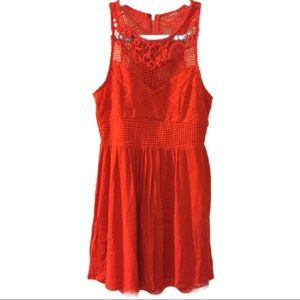 Dresses & Skirts - ✂️Red orange gauze dress with lace